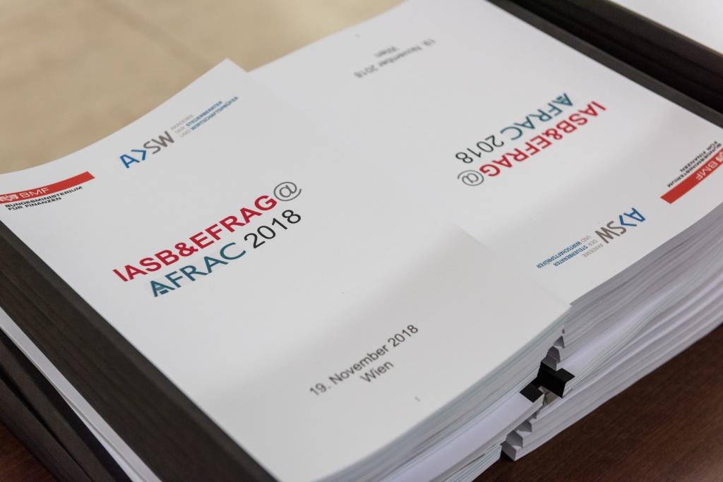 VIENNA, AUSTRIA - November 19, 2018 Finanzministerium: AFRAC 2018,  Mag. Alfred Lejsek - Leiter der Gruppe Finanzmärkte, Bundesministerium für Finanzen;  Univ.-Prof. Dr. Alfred Wagenhofer - AFRAC Mitglied; Nick Anderson - IASB Mitglied;  Andrew Watchman - EFRAG CEO und TEG Chairman; Filipe Alves - Advanced Technical Manager; Moderator: Gerhard Prachner - AFRAC Mitglied; AFRAC Mitglied ©Josef Polleross
